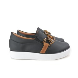 Tênis Slip On Iate com Corrente Preto